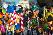 (Plastik-)Monstermässig gut: Der «Chenderumzug» in Buchrain war ein voller Erfolg. (Bild: Dominik Wunderli, Buchrain, 16. Februar 2019)