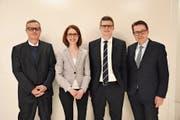 Patrick Ziltener, Susanne Vincenz-Stauffacher, Mike Egger und Benedikt Würth (von links) standen Red und Antwort.Bild Michael Kohler