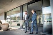 Bankratspräsident René Bock (links) im Gespräch mit dem neuen Vorsitzenden der TKB-Geschäftsleitung, Thomas Koller. (Bilder: Andrea Stalder)