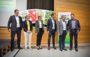 Treten für die SVP zur Nationalratswahl an: Manuel Strupler, Diana Gutjahr, Verena Herzog, Pascal Schmid, Stefan Mühlemann und Daniel Vetterli. (Bild: Andrea Stalder)