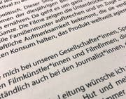 Gendersternchen im Grusswort zur Berlinale. (Bild: Keystone)