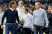 Das Thuner Erfolgsduo: Sportchef Andres Gerber (links) und Trainer Marc Schneider. (Bild: Keystone)