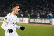 Überschwänglicher Jubel, obwohl er bloss den Ehrentreffer erzielte: Benjamin Kololli im Match seines FC Zürich gegen Napoli. (Bild: Keystone)