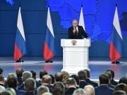 Der russische Präsident Wladimir Putin bei seiner 15. Rede an die Nation. (Bild: KEYSTONE/EPA SPUTNIK POOL/ALEXEY NIKOLSKY / SPUTNIK / KREMLIN PO)