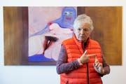 Miriam Cahn und ihre feministische Version von Gustave Courbets «L'origine du monde». (Bild: KEYSTONE/Peter Klaunzer)