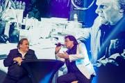 Christian Constantin diskutiert an der 15. Gala mit dem französischen Schauspieler Gérard Depardieu. (Bild: Salvatore Di Nolfi/KEY)