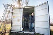 Der Materialraum der AS Calcio befindet sich in einem Container. (Bild: Andrea Stalder)