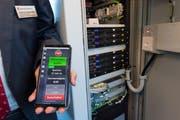 Die Messdaten werden direkt in einen im Zug eingebauten Technikkasten übermittelt. (Bild: Eveline Beerkircher, Luzern, 21. Februar 2019)