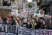 «Wacht auf!!»: Jugendliche am St.Galler Klimastreik vom 15. Februar. (Bild: Michel Canonica)