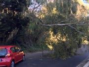 Nicht alle hatten so Glück wie dieser Autofahrer: Unwetter in Italien haben am Samstag mehrere Todesopfer gefordert. (Bild: KEYSTONE/AP/FABIO POLIMENI)