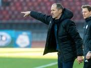 Thomas Häberli zeigt, wo es lang geht: unter ihm holt der FC Luzern immerhin den ersten Punkt im neuen Jahr (Bild: KEYSTONE/MELANIE DUCHENE)