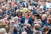 Im Mittelpunkt: Roger Federer rührt in Genf die Werbetrommel für den Laver Cup, der im September in der Palexpo-Halle stattfindet. (Bild: Salvatore Di Nolfi/KEY (Genf, 8. Februar 2019))