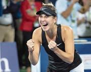 Kann ihren Sieg kaum fassen: Belinda Bencic. (Bild: Jürgen Hasenkopf/Freshfocus (Dubai, 23. Februar 2019))
