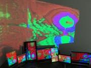 Die Installation von Andy Guhl veranschaulicht das Thema des Kunstfestivals: das Zusammenspiel von digitaler und analoger Kunst. (Bild: PD