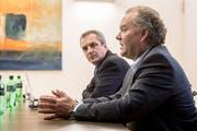 Daniel Gasser, Gemeindepräsident (links) und Felix Meyer, Geschäftsleiter Genossenschaft Migros Luzern. (Bild: Nadia Schärli, Ebikon, 10. Februar 2019)