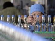 Wodka-Produktion in Russland - rund 90'000 Flaschen russischen Wodkas, der für Nordkorea bestimmt war, hat der Zoll in Rotterdam konfisziert. (Bild: Keystone/EPA/MICHAEL REYNOLDS)
