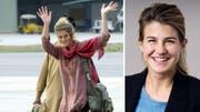 Daniela Widmer kurz nach ihrer Flucht am Flughafen Islamabad und heute, zwei Wochen nach ihrer Wahl an die Spitze der Gemeinde Bellikon. (Bild: Keystone, zvg)