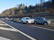 Auffahrunfall auf der Autobahn A2 bei Knutwil. (Bild: Luzerner Polizei)