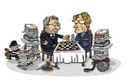 Versessen ins Paragraphenschach: Oberstaatsanwältin und ihr Vize kämpfen juristisch gegeneinander, derweil andere Fälle reihenweise liegen bleiben. (Zeichnung Tobit)