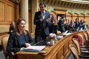 Chantal Galladé erhielt bei ihrer Verabschiedung aus dem Nationalrat Applaus von der SP-Fraktion. (Bild: Peter Klaunzer/KEY (Bern, 6. Dezember 2018))