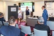 Zur Exportfinanzierung sprachen Verena Utzinger (Schweizerische Exportversicherung), Beat Egloff (Thielenhaus Superfinish Innovation AG, Matzingen) und Thomas Kaufmann (UBS). (Bild: PD)