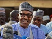 Seit 2015 an der Macht und nun wiedergewählt: Nigerias Staatschef Muhammadu Buhari. (Bild: KEYSTONE/AP/BEN CURTIS)