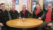 Vorstand der Männerriege Oberegg (v.l.): Der neue Oberturner Roger Spirig mit Bruno Schelling (Vorturner), Marc Schmid (Präsident), Norbert Geiger (Kassier) und Markus Ulmannn (Aktuar). (Bild: pd)