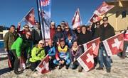Ein Teil der Supporter nützte die Gelegenheit, Beda Klee an der WM in Seefeld zu treffen. (Bild: Bilder: Urs Huwyler)