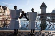 Italiener in Luzern: Bialetti-Kaffeekocher an der Fasnacht. (Bild: Alexandra Wey/Keystone, Luzern, 28. Februar 2019)