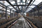 Blick in die sich noch im Bau befindende Halle. (Bild: Matthias Piazza (Stansstad, 4. Februar 2019))