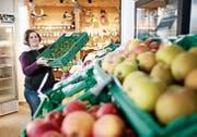 Die Kundschaft schätzt die Frische der Produkte und die Nähe zum Hersteller. Daniela Hadorn vom Enikerhof in Cham sorgt für Freiland-Nüsslisalat-Nachschub im Hofladen. (Bild: Stefan Kaiser (6. Februar 2019))