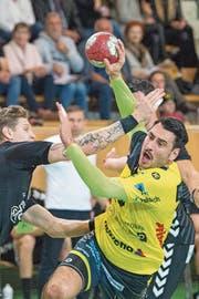 St.Otmars Rückraumspieler Andrija Pendic stand in der Saison 2010/11 in Aarau unter Vertrag, dann in Schaffhausen. (Bild: Urs Bucher)