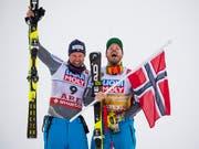 Kjetil Jansrud und Aksel Lund Svindal haben gut lachen (Bild: KEYSTONE/JEAN-CHRISTOPHE BOTT)