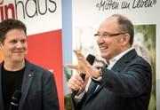 Der bekannte TV-Moderator Berni Thurnheer spricht an der Eröffnung der Weinfelder Messen. (Bild: Reto Martin)