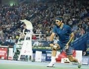 Roger Federer hat im Halbfinal alles im Griff. Bild: Ali Haider/Keystone (Dubai, 1. März 2019)