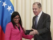 Der russische Aussenminister Sergej Lawrow empfängt die venezolanische Vizepräsidentin Delcy Rodríguez in Moskau. (Bild: Keystone/EPA/SERGEI CHIRIKOV)