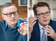 Ringen um Stimmen der umweltbewussten Wähler: Patrick Ziltener (Grüne) und Benedikt Würth (CVP). (Bilder: Urs Bucher, Michel Canonica)