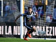 Jonathan Sabbatinis Jubel nach dem 1:1 gegen den FC Basel in der 44. Minute (Bild: KEYSTONE/TI-PRESS/DAVIDE AGOSTA)