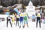 Dario Cologna (Mitte) in Siegerpose. (Bild: Ennio Leanza/Keystone, St. Moritz, 10. März 2019)