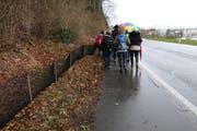 Schüler der International School of Zug and Luzern helfen freiwillig mit, die Frösche und Kröten auf die andere Strassenseite zu bringen. (Bild: Fiona Bösiger, Baar, 7. März 2019)