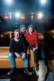Der «harte Kern» des Theaters Aeternam: (von links) Christoph Fellmann, Marco Sieber und Franziska Bachmann Pfister. (Bild: Nadia Schärli (11. März 2019)