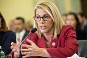 Sara Nelson, Präsidentin der Gewerkschaft des Kabinenpersonals, während einer Konferenz. (Bild: Andrew Bloomberg, Washington, 4. Mai 2017)