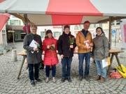Bei der Standaktion standen vor allem die Themen Gleichberechtigung und Kinderzulagen im Fokus. (Bild: PD (Altdorf, 9. März 2019)