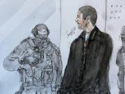 Die Staatsanwaltschaft fordert für eine lebenslange Haftstrafe für Mehdi Nemmouche, der im Prozess um den Anschlag auf das jüdische Museum in Brüssel für schuldig befunden wurde. (Bild: Keystone/AP/BENOIT P)