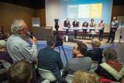 Die Regierungsratskandidaten stellten sich am Podium im LZ-Auditorium auch Publikumsfragen. (Bild: Dominik Wunderli (Luzern, 12.März 2019))