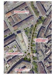 Wie sich der Heimatschutz die Baumpflanzungen am Oberen Graben, rund um den Broderbrunnen und an der St.Leonhard-Strasse vorstellt. (Illustration: PD)