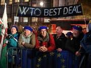 Vor dem Parlament demonstrierten Befürworter des Brexits sowie Anhänger eines EU-Verbleibs Grossbritanniens. EPA/ANDY RAIN (Bild: KEYSTONE/EPA/ANDY RAIN)