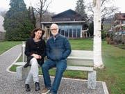 Simone Konrad, Präsidentin des Kulturvereins, und Gerhard Baumgartner, Initiant des Kulturraums. (Bild: Kurt Liembd, Beckenried, 14. März 2019)