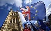 EU-Protestierende ausserhalb des britischen Parlaments. (Bild: EPA/Andy Rain, London, 14. März 2019)