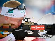 Johannes Thingnes Bö nimmt die Scheibe ins Visier. (Bild: KEYSTONE/AP TT News Agency/ANDERS WIKLUND)